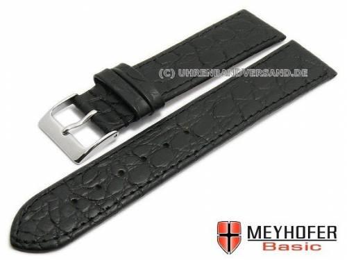 MEYHOFER Basic Uhrenarmband -Santos- 20mm schwarz Leder Kroko-Prägung abgenäht (Schließenanstoß 18 mm) - Bild vergrößern