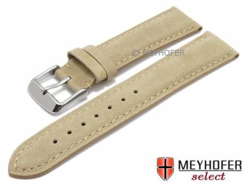Uhrenarmband -Memphis- 24mm beige Leder velourartig abgenäht von MEYHOFER (Schließenanstoß 22 mm) - Bild vergrößern