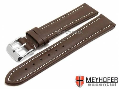Uhrenarmband -Okinawa- 20mm dunkelbraun Leder gepolstert helle Naht von MEYHOFER (Schließenanstoß 18 mm) - Bild vergrößern
