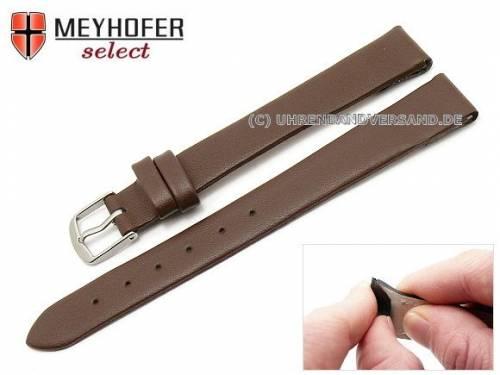 Uhrenarmband -Rockhampton- 13mm Clip-Anstoß dunkelbraun Leder glatt matt von MEYHOFER (Schließenanstoß 12 mm) - Bild vergrößern