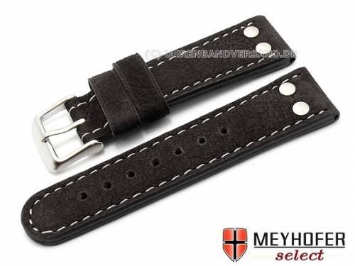 Uhrenarmband -Tarragona- XS 22mm schwarz Büffelleder Fliegerband MEYHOFER (Schließenanstoß 20 mm) - Bild vergrößern