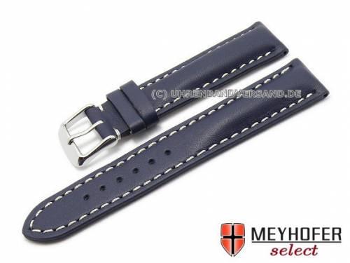 Uhrenarmband -Hardenberg- 18mm dunkelblau Kalbleder helle Naht von MEYHOFER (Schließenanstoß 16 mm) - Bild vergrößern