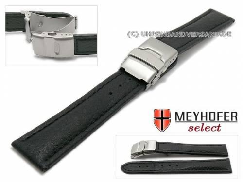 Uhrenarmband -Irricana- 18mm schwarz Leder genarbt Faltschließe abgenäht von MEYHOFER (Schließenanstoß 18 mm) - Bild vergrößern
