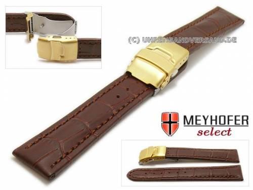 Uhrenarmband -Renton- 20mm d.braun Leder Alligator-Prägung goldfarbene Faltschließe von MEYHOFER (Schließenanstoß 18 mm) - Bild vergrößern
