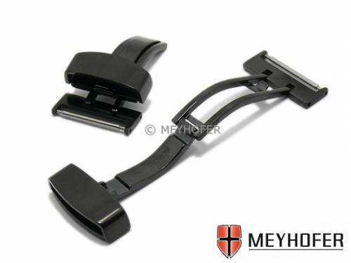 Kippfaltschließe -Billstedt- (MyHeKFS-504) 20mm schwarz Edelstahl poliert für Leder-Uhrenarmbänder - Bild vergrößern