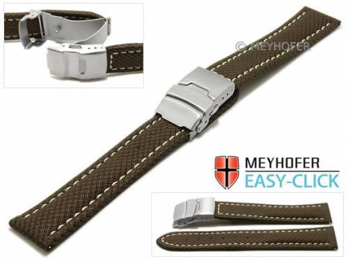 Meyhofer EASY-CLICK Uhrenband -Hudson- 24mm dunkelbraun Textil-Look helle Naht mit Faltschließe (Schließenanstoß 22 mm) - Bild vergrößern