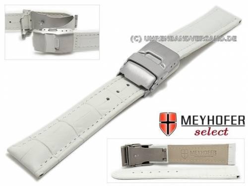 Uhrenarmband -Bolea- 20mm weiß Allig.-Präg. abgenäht Titan-Faltschließe von MEYHOFER (Schließenanstoß 18 mm) - Bild vergrößern