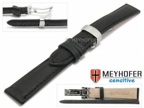 Uhrenarmband -Amiens- 18mm schwarz Kalbleder genarbt mit Faltschließe von MEYHOFER (Schließenanstoß 16 mm) - Bild vergrößern