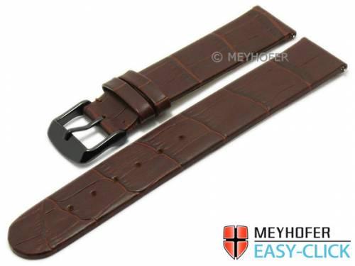 Meyhofer EASY-CLICK Uhrenarmband -Skeena- 20mm dunkelbraun Leder Alligator-Prägung ohne Naht (Schließenanstoß 20 mm) - Bild vergrößern