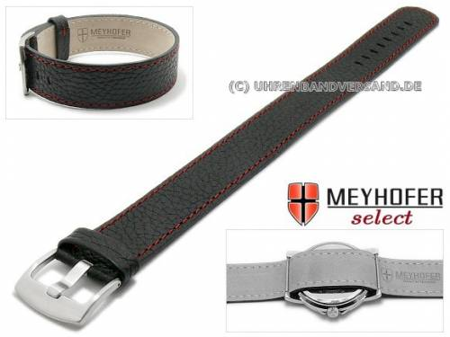 Uhrenarmband -Oslo- 22mm schwarz Leder genarbt rote Naht Durchzugsband von Meyhofer - Bild vergrößern