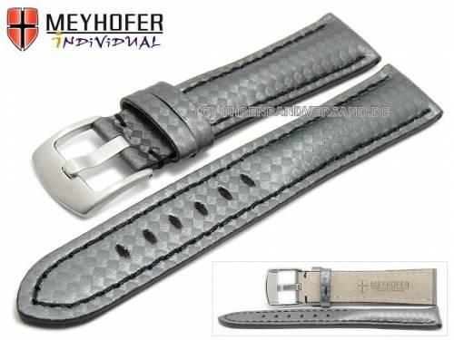 Uhrenarmband -Rheinsberg- 17mm grau Leder sportiv Carbon-Look schwarze Naht von MEYHOFER (Schließenanstoß 16 mm) - Bild vergrößern