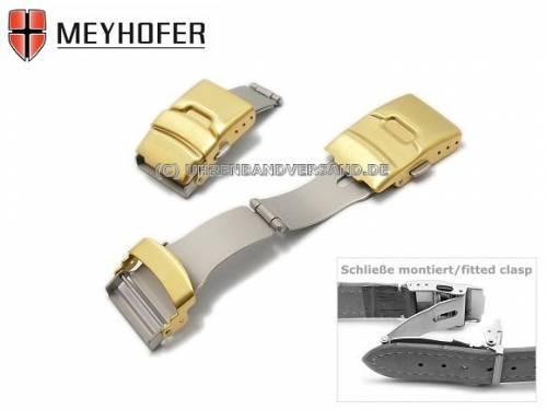 Sicherheitsfaltschließe -Treptow- 18mm goldfarben Edelstahl gebürstet mit seitlichen Drückern - Bild vergrößern