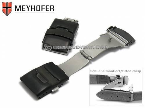Sicherheitsfaltschließe -Spandau- 20mm schwarz Edelstahl gebürstet mit seitlichen Drückern - Bild vergrößern