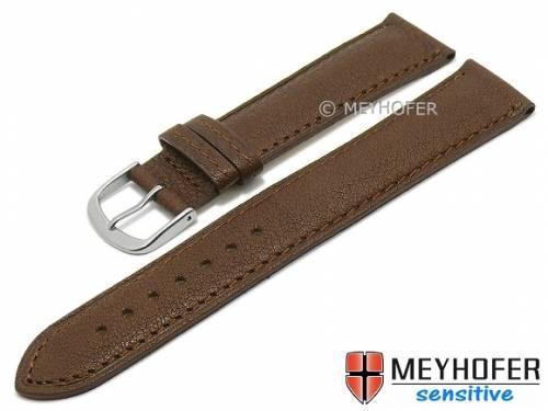 Uhrenarmband -Alvesta- 18mm dunkelbraun genarbt echt Kalb von MEYHOFER (Schließenanstoß 16 mm) - Bild vergrößern