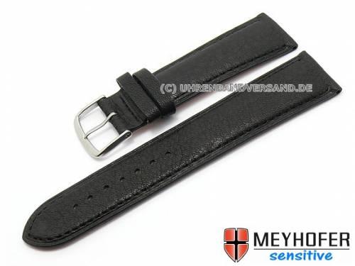 Uhrenarmband -Alvesta- 20mm schwarz genarbt echt Kalb von MEYHOFER (Schließenanstoß 18 mm) - Bild vergrößern