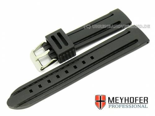 Uhrenarmband -Saragossa- 22mm schwarz Silikon abgenäht von MEYHOFER (Schließenanstoß 20 mm) - Bild vergrößern