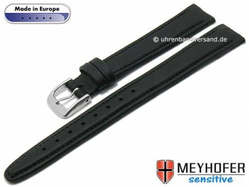 Uhrenarmband -Kenwick- 14mm schwarz Synthetik VEGAN lederähnlich abgenäht von MEYHOFER (Schließenanstoß 12 mm) - Bild vergrößern