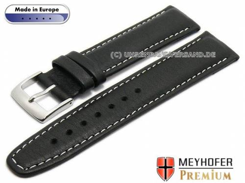 Uhrenarmband -Wittenberg- 19mm schwarz Leder genarbt matt helle Naht von MEYHOFER (Schließenanstoß 18 mm) - Bild vergrößern