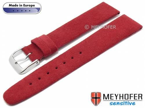 Uhrenarmband -Licata- 16mm rot VEGAN Alcantara velourartig von MEYHOFER (Schließenanstoß 14 mm) - Bild vergrößern
