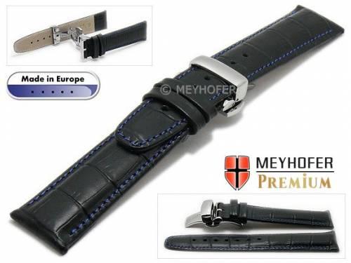 Uhrenarmband  -Merano- 20mm schwarz Alligator-Prägung blaue Naht Faltschließe von Meyhofer (Schließenanstoß 18 mm) - Bild vergrößern