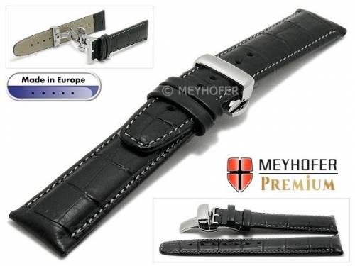 Uhrenarmband  -Merano- 20mm schwarz Alligator-Prägung graue Naht Faltschließe von Meyhofer (Schließenanstoß 18 mm) - Bild vergrößern