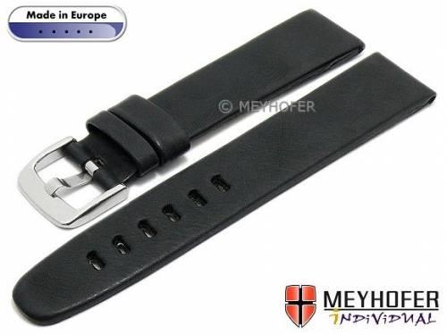 Uhrenarmband -Terni- 18mm schwarz Leder Vintage-Look von MEYHOFER (Schließenanstoß 18 mm) - Bild vergrößern