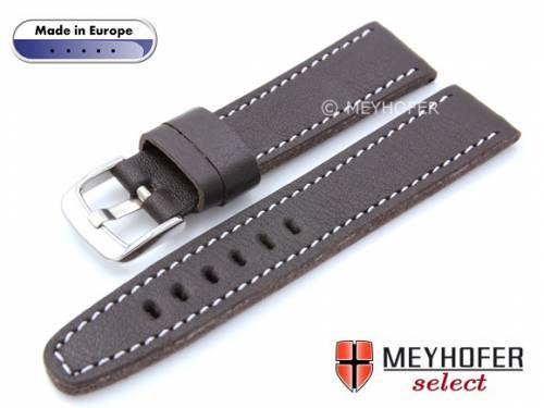 Uhrenarmband -Alcamo- 22mm dunkelbraun Leder genarbt robust & weich helle Naht von MEYHOFER (Schließenanstoß 20 mm) - Bild vergrößern