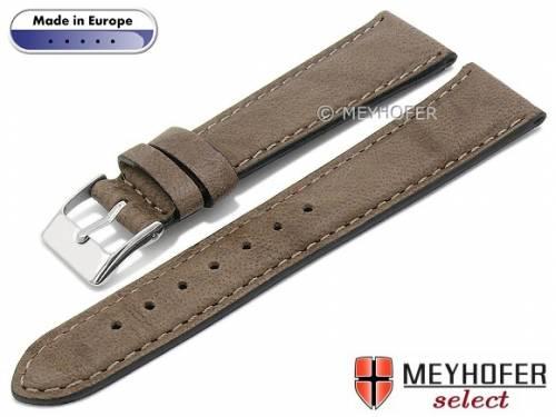 Hand made Uhrenarmband -Missoula- 16mm mittelbraun Leder glatt matt abgenäht von Meyhofer (Schließenanstoß 14 mm) - Bild vergrößern