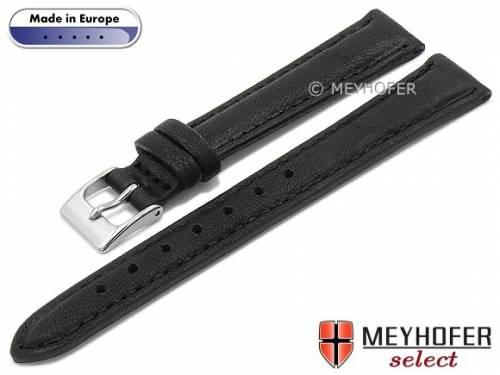 Hand made Uhrenarmband -Missoula- 14mm schwarz Leder glatt matt abgenäht von Meyhofer (Schließenanstoß 12 mm) - Bild vergrößern