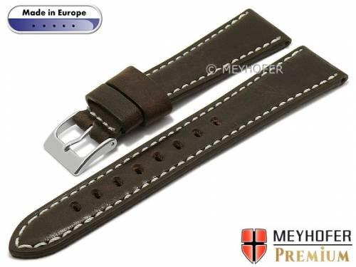 Hand made Uhrenarmband -Pescara- 18mm dunkelbraun Leder Vintage-Look helle Naht von MEYHOFER (Schließenanstoß 16 mm) - Bild vergrößern
