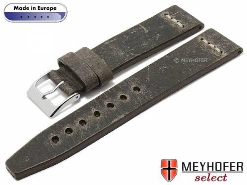 Hand made Uhrenarmband -Catanzaro- 24mm graubraun Leder Vintage-Look helle Naht von MEYHOFER (Schließenanstoß 20 mm) - Bild vergrößern