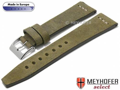 Uhrenarmband -Catanzaro- 24mm olivgrün Leder Vintage-Look helle Naht von MEYHOFER (Schließenanstoß 20 mm) - Bild vergrößern