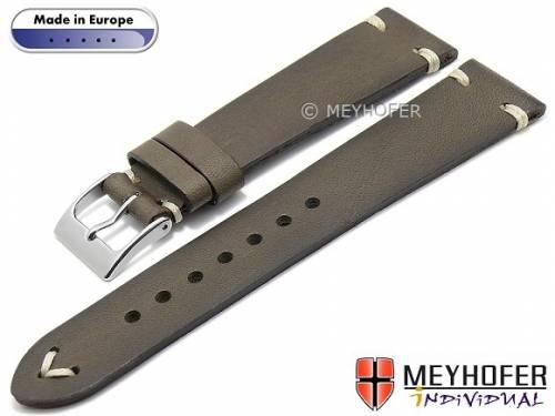 Uhrenarmband -Havre- 18mm grau Leder Vintage-Look helle Naht von MEYHOFER (Schließenanstoß 16 mm) - Bild vergrößern
