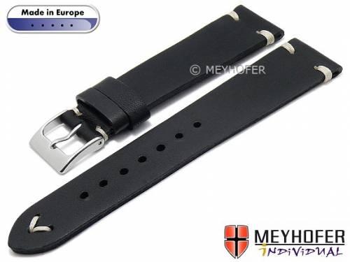 Hand made Uhrenarmband -Havre- 18mm schwarz Leder Vintage-Look helle Naht von MEYHOFER (Schließenanstoß 16 mm) - Bild vergrößern