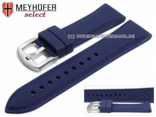 Uhrenarmband -Rimini- 22mm dunkelblau Silikon mit Lochmuster matt von MEYHOFER (Schließenanstoß 20 mm) - Bild vergrößern