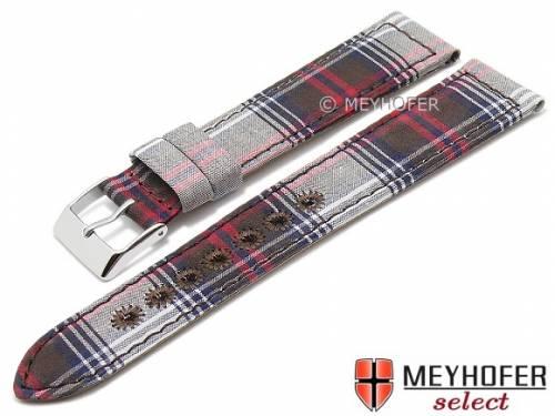 Uhrenarmband -Rovigo- 20mm braun/rot/weiß Textil/Leder modisch von MEYHOFER (Schließenanstoß 18 mm) - Bild vergrößern