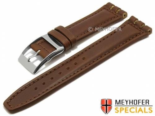Uhrenarmband -Beloit- 19mm mittelbraun Leder glatt passend für Swatch von MEYHOFER (Schließenanstoß 20 mm) - Bild vergrößern