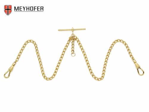 Taschenuhrkette -Gohlis- goldfarben Metall Rundpanzer Double Albert-Kette kleine Glieder von MEYHOFER - Bild vergrößern