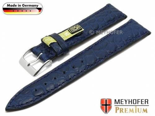 Uhrenarmband -Wertheim- 18mm dunkelblau echt Alligator-Leder (Schließenanstoß 16 mm) - Bild vergrößern