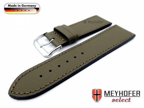 Uhrenarmband -Westerland- 22mm olivgrün Leder mit Struktur abgenäht von MEYHOFER (Schließenanstoß 20 mm) - Bild vergrößern