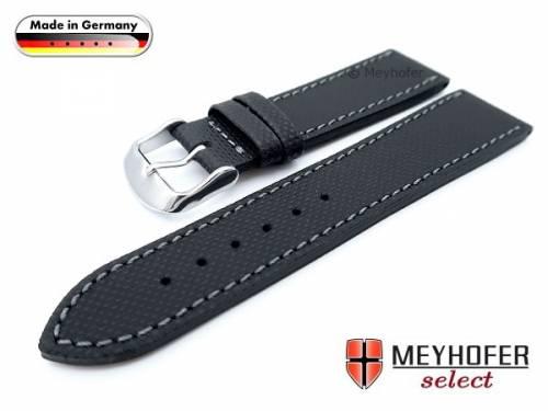 Uhrenarmband -Westerland- 22mm schwarz Leder mit Struktur abgenäht von MEYHOFER (Schließenanstoß 20 mm) - Bild vergrößern
