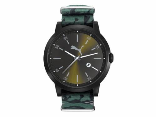 Sportive Herrenuhr -Liberated- Edelstahl schwarz Ziffernblatt schwarz/grün von PUMA (*PU*HU*)  - Bild vergrößern