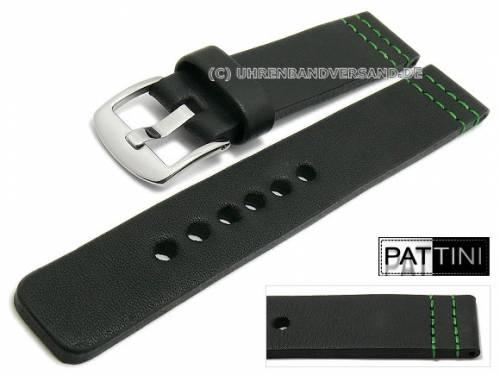 Uhrenarmband 24mm schwarz Leder matt grüne Doppelnaht von PATTINI (Schließenanstoß 24 mm) - Bild vergrößern