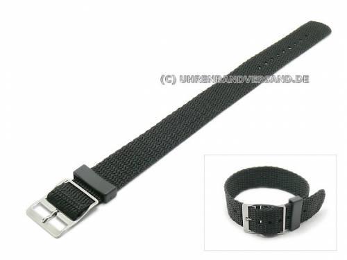 Uhrenarmband 20mm schwarz Nylon/Textil Durchzugsband (Schließenanstoß 20 mm) - Bild vergrößern