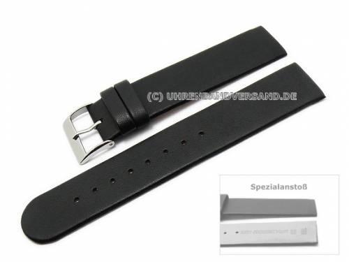 Uhrenarmband 16mm schwarz Kalbsleder Spezialanstoß für verschraubte Gehäuse (Schließenanstoß 16 mm) - Bild vergrößern