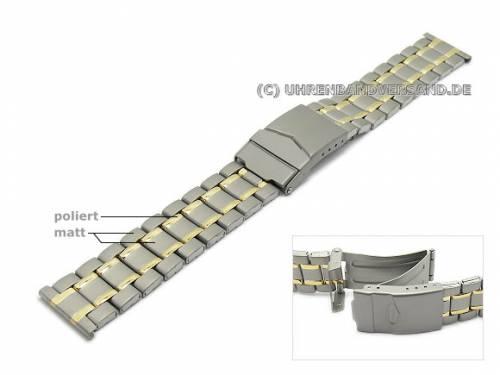 Uhrenarmband 20mm Titan bicolor teilweise poliert mit Sicherheitsfaltschließe - Bild vergrößern