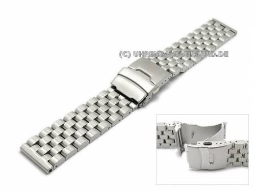 Uhrenarmband 20mm Edelstahl massiv gebürstet mit Sicherheitsfaltschließe - Bild vergrößern