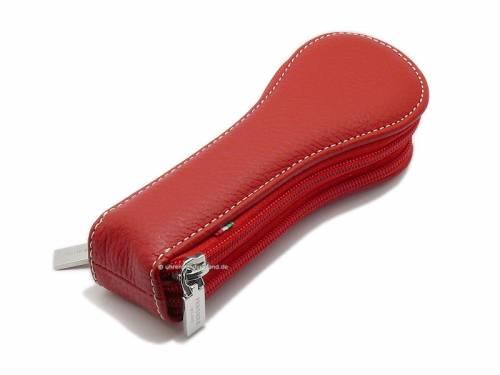 HAND MADE Uhrenetui rot für 2 Armbanduhren echt Leder von PergherMilano - Bild vergrößern