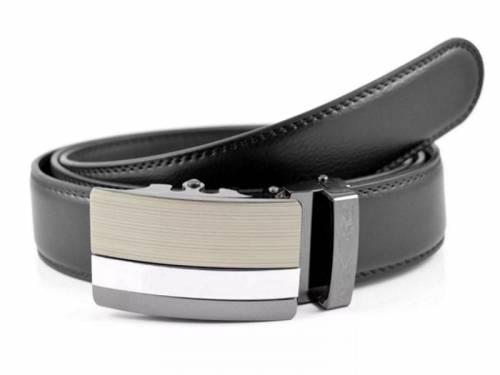 Klassischer Anzuggürtel schwarz fein genarbt doppelt abgenäht mit Automatikschließe - Größe 115 (Breite ca. 3,5cm) - Bild vergrößern