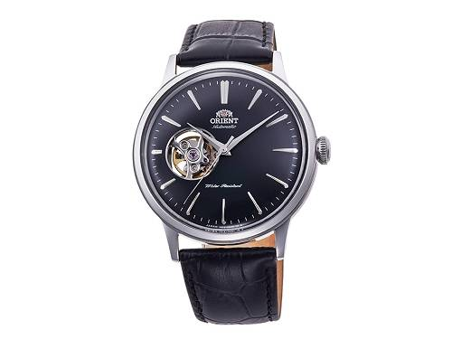 Automatik-Armbanduhr Edelstahl silberfarben Ziffernblatt schwarz offene Unruh von ORIENT (*OR*AU*) - Produktbild